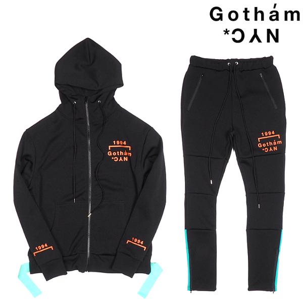 GOTHAM NYC/ジャージセットアップ/BLACK×ORANGE×MINT/ブラック×オレンジ×ミント/セット商品/ZIPパーカー/ジャージパンツ/ストリート/カジュアル/メンズ/ゴッサムエヌワイシー/送料無料/新作/