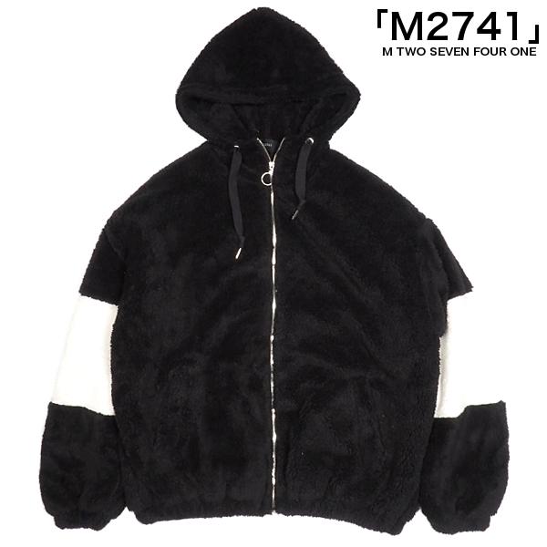 M2741/アームラインZIPボアフーディ/BLACK/ブラック/袖ライン/バイカラー/ZIPパーカー/ボアパーカー/ボアフリース/ドロップショルダー/アメカジ/ストリート/カジュアル/エムトゥーセブンフォーワン/メンズ/送料無料/新作/