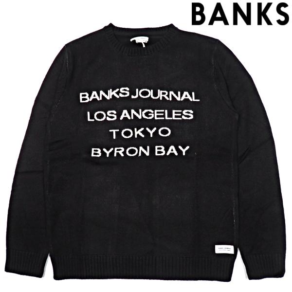 BANKS JOURNAL/バンクスジャーナル/GRAMMAR KNIT/クルーニット/ブラック/DIRTY BLACK/AKN0064/セーター/クルーネック/サーファー/スポーティー/カジュアル/サーフ/メンズ/送料無料/新作/