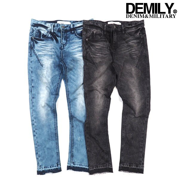 DEMILY/デミリー/ブリーチテーパードデニム/ブラックブルー/ストレッチ/デニムパンツ/ジーンズ/ジーパン/ストリート/メンズ/送料無料/新作/