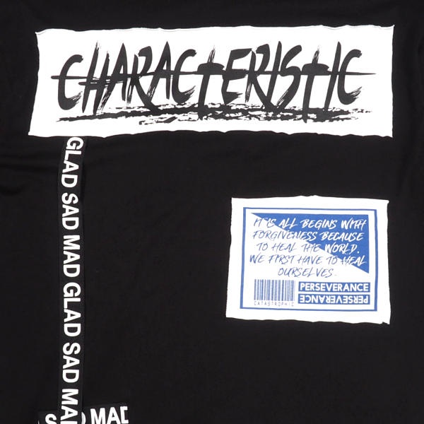 GATESIXテープギミックTシャツBLACK半袖TシャツプリントTビッグシルエットストリートスポーティ韓国ファッションシンプルゲートシックスメンズ送料無料新作