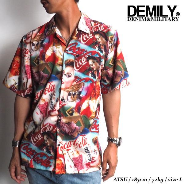 DEMILYデミリーコカコーラオープンカラーシャツレッド赤半袖シャツ開襟シャツショートスリーブレディプリントストリートカジュアルHIPHOP送料無料新作