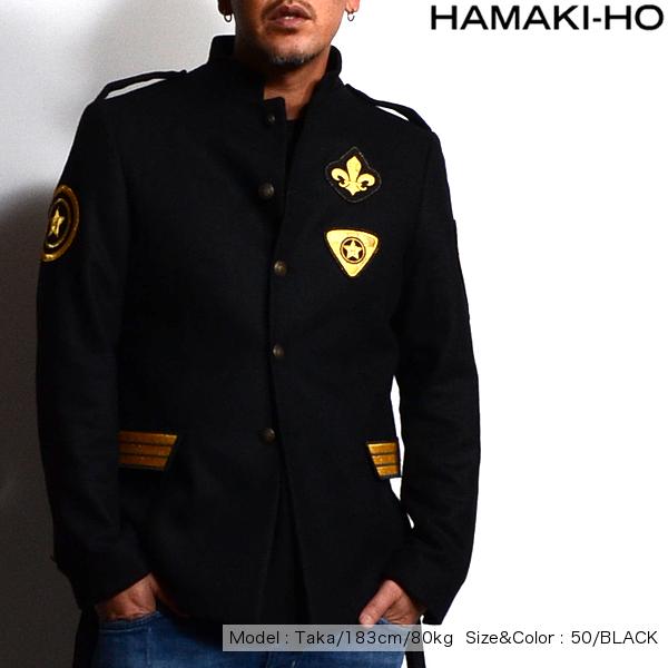 【ポッキリSALE】【SALE】HAMAKI-HO(ハマキホ) エンブレムジャケット メンズ GA1146H ワッペン ウールジャケット コート スタンドカラー イタリア製 全2色 ブラック カーキ【送料無料】【あす楽】