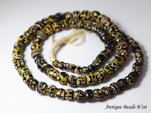 【1502】アンティークヴェネチア黄色格子アイビーズ一連【とんぼ玉】【アンティークビーズ】【ビーズ】【パーツ】【送料無料】【骨董】【antiquebeads】【beads】