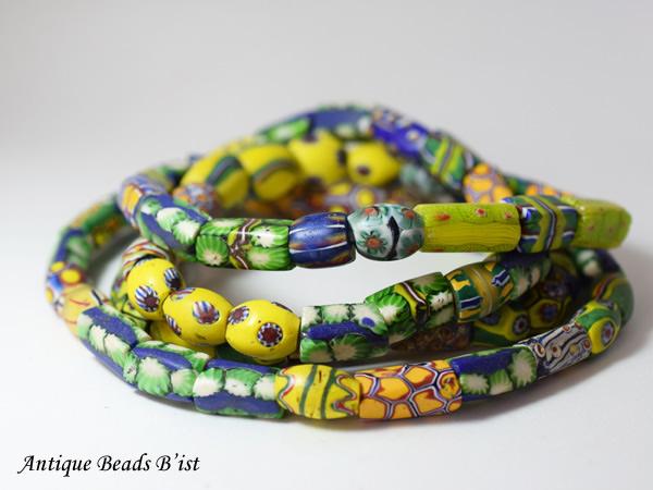 【1602】ANTQヴェネチア上質ミルフィオリMixビーズ一連【とんぼ玉】【アンティークビーズ】【ビーズ】【パーツ】【骨董】【送料無料】【antiquebeads】【beads】【ベネチア】