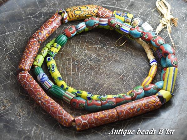 【1702】ANTQヴェネチアミルフィオリオーバルMIXビーズ一連【とんぼ玉】【アンティークビーズ】【ビーズ】【パーツ】【骨董】【送料無料】【antiquebeads】【beads】【ベネチア】【1702-3】
