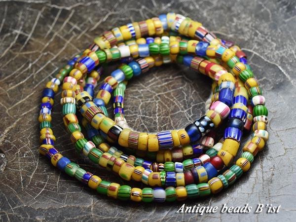 【1803】ANTQヴェネチアシェブロン・カンネ・金赤MIXビーズ一連B【とんぼ玉】【アンティークビーズ】【ビーズ】【パーツ】【骨董】【antiquebeads】【beads】【ベネチア】【ハンドメイド】【送料無料】