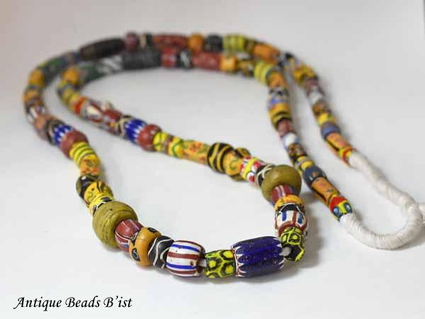 【1810】ANTQヴェネチアミックストレードビーズロング一連4【とんぼ玉】【アンティークビーズ】【ビーズ】【パーツ】【骨董】【送料無料】【antiquebeads】【beads】【ベネチア】
