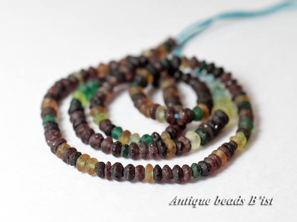 【1707】ローマングラス算盤型紫色MIX小粒ビーズ一連2【とんぼ玉】【アンティークビーズ】【ビーズ】【パーツ】【ローマングラス】【骨董】【antiquebeads】【beads】