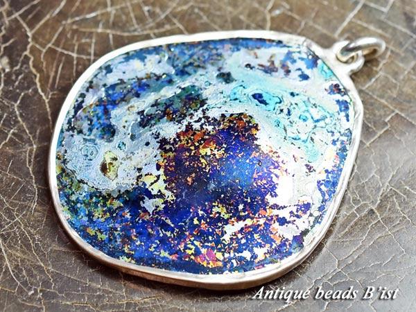 【1607】古代ローマン薄青色銀化残欠片シルバー枠大型TOP【とんぼ玉】【アンティークビーズ】【ビーズ】【パーツ】【ローマングラス】【送料無料】【骨董】【antiquebeads】【beads】【romanglass】