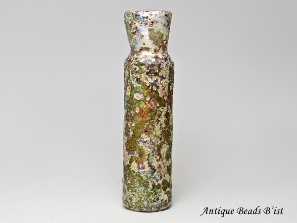 【1910】古代ローマングラス半透明薄緑色円筒型銀化小瓶(高さ約8.1Cm)【とんぼ玉】【トンボ玉】【アンティークビーズ】【ローマンガラス】【ビーズ】【骨董】【送料無料】【Ancient Roman glass】【beads】