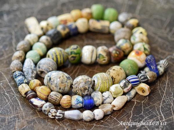 【1508】古代ローマン&イスラムミックスビーズ一連【とんぼ玉】【アンティークビーズ】【送料無料】【ビーズ】【パーツ】【骨董】【ローマングラス】【beads】【antiquebeads】【古代玉】【中世玉】