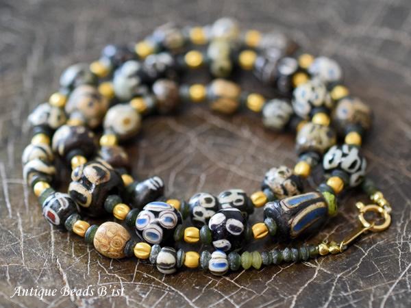 【1509】古代ローマン中小粒アイビーズネックレス【とんぼ玉】【アンティークビーズ】【ビーズ】【パーツ】【送料無料】【骨董】【antiqubeads】【beads】【ローマングラス】