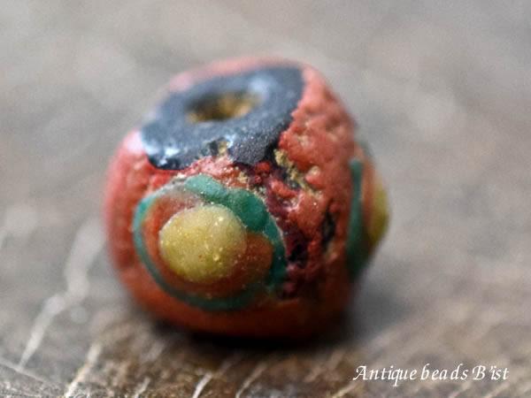 【1502】古代ローマン突起状4眼貼付赤茶玉C5【とんぼ玉】【アンティークビーズ】【送料無料】【ビーズ】【骨董】【ローマングラス】