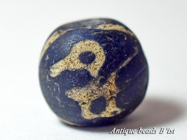 【1601】ジャワ島出土半透明瑠璃色マニックブルン1【とんぼ玉】【トンボ玉】【送料無料】【ビーズ】【パーツ】【骨董】【鳥玉】【antiquebeads】【beads】