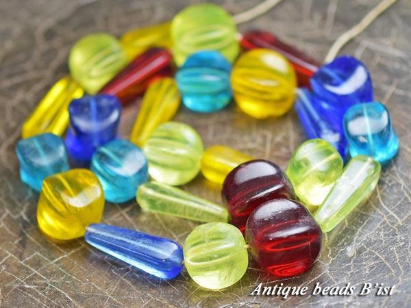 【1604】ANTQボヘミアウランガラス含むMIXビーズ一連1【とんぼ玉】【アンティークビーズ】【ローマングラス】【ビーズ】【パーツ】【チェコビーズ】【骨董】【antiquebeads】【beads】【送料無料】