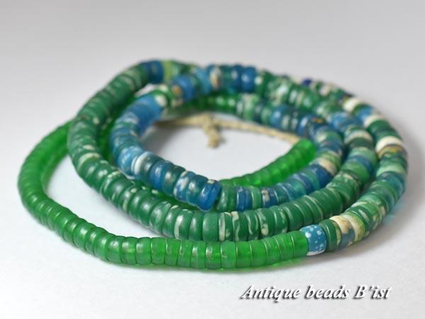 【1704】ANTQボヘミアカンカンバ緑色玉MIX一連4【とんぼ玉】【アンティークビーズ】【ビーズ】【パーツ】【チェコ】【antiquebeads】【beads】【ボヘミア】【送料無料】