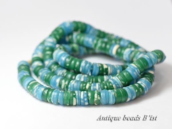 寒色系のカンカンバ アンティークビーズ 低価格 1705 ANTQボヘミアカンカンバ青緑色玉MIX一連7 高級 とんぼ玉 ビーズ チェコ antiquebeads beads パーツ 送料無料 ボヘミア
