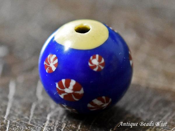 【1812】江戸とんぼ玉 たくさんの鞠紋様の紺碧色中玉2【とんぼ玉】【トンボ玉】【送料無料】【骨董】【根付】【和玉】【アンティークビーズ】【antiquebeads】【beads】【ガラスビーズ】