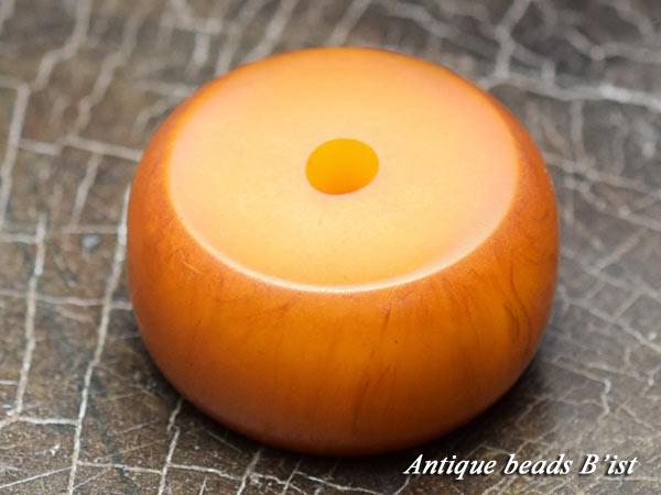 【1510】アフリカンアンバー扁平丸型大玉3【とんぼ玉】【蜻蛉玉】【アンティークビーズ】【パーツ】【琥珀】