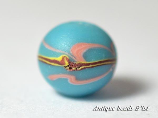【1605】江戸とんぼ玉 波模様薄青色小玉3【とんぼ玉】【トンボ玉】【骨董】【根付】【和玉】【アンティークビーズ】【antiquebeads】【beads】【送料無料】