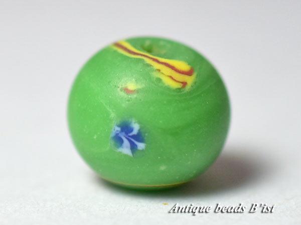 【1605】江戸とんぼ玉 手毬模様緑色小玉B【とんぼ玉】【トンボ玉】【骨董】【根付】【和玉】【アンティークビーズ】【antiquebeads】【beads】