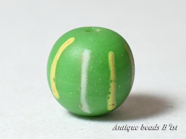 【1605】江戸とんぼ玉 縦縞模様黄緑色小玉5【とんぼ玉】【トンボ玉】【骨董】【根付】【和玉】【アンティークビーズ】【antiquebeads】【beads】