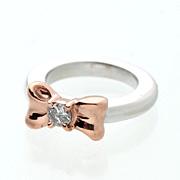 【出産祝い】ベビーリング・リボン・K10・4月誕生石ダイヤモンド・【レーザー刻印2列】【送料無料】【楽ギフ_名入れ】