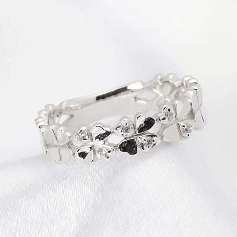 K10PG/WG/YG ダイヤモンド・ハート クローバー・ピンキー リング【送料無料】【品質保証書】【代引手数料無料】指輪 人気 可愛い ギフト 誕生日 プレゼント ホワイトデー クリスマス・10k 10金 ゴールド ピンキーリング ピンキー対応 ダイヤ ダイヤモンドリング