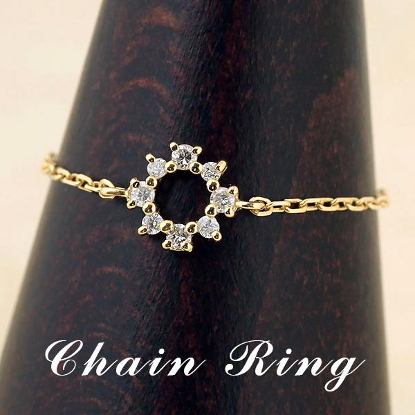 チェーンリング(指輪)・ダイヤモンド・フラワー・フリーサイズ(-1号~20号)・K18YG/K18PG/K18WG【送料無料】
