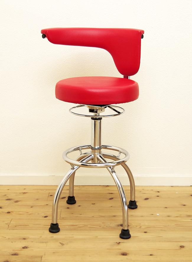 座面高67-80cm 回転昇降ハイカウンターチェア PVCレザーで汚れに強い 背もたれ回転 赤いカウンターチェア