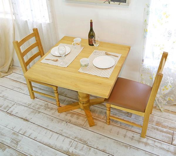 【カントリーパイン90cmダイニングテーブルチェア2脚セットbj-bav90lr-2-gan1-na】パインカフェテーブル/カントリーパインテーブルセット