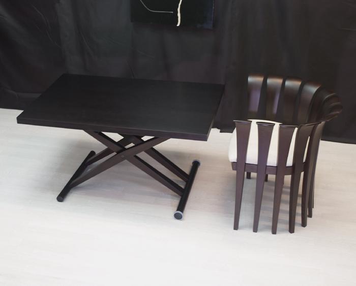 【木製伸長式リフティングテーブルBrio/ウェンジ色】昇降伸長式テーブル/ダイニングテーブル/リビングテーブル/木製高さ調整テーブル/テーブル高さ22~79cm