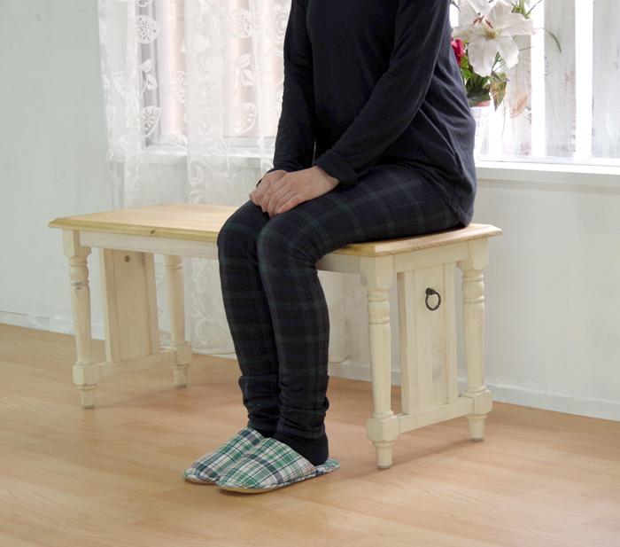 【カントリーパインベンチ 幅100cm ミルキーホワイト色】木製ベンチオイル仕上げ、カントリーテーブルベンチ