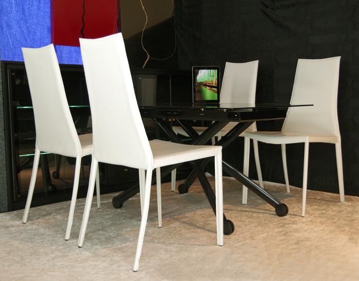 デザイナーズテーブルセット【伸長式リフティングテーブルEsprit-Vbk、チェアToby 4脚セット】昇降伸長式ガラステーブルイタリア製/ダイニングテーブル5点セット/高さ調整黒ガラステーブルセット/テーブル高さ36~82cm