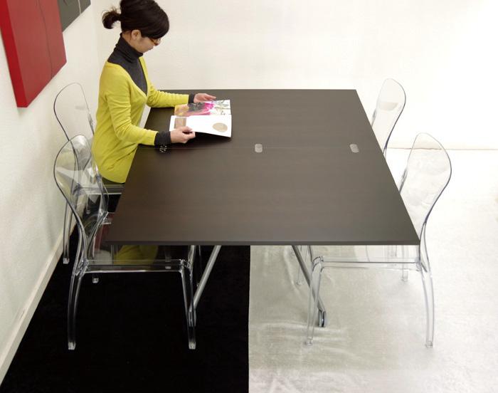 リフティングテーブル 大きなサイズの昇降テーブル、イタリア製 Esprit(エスプリ)ウェンジ /デザイナーズチェアCrystal4脚セット