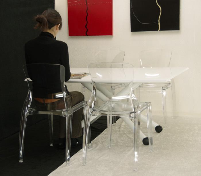 デザイナーズテーブル透明椅子セット【伸長式リフティングテーブルEsprit-wh、透明椅子Crystal4脚セット】昇降伸長式テーブルイタリア製/ダイニングテーブル5点セット/高さ調整テーブルセット/テーブル高さ36~82cm