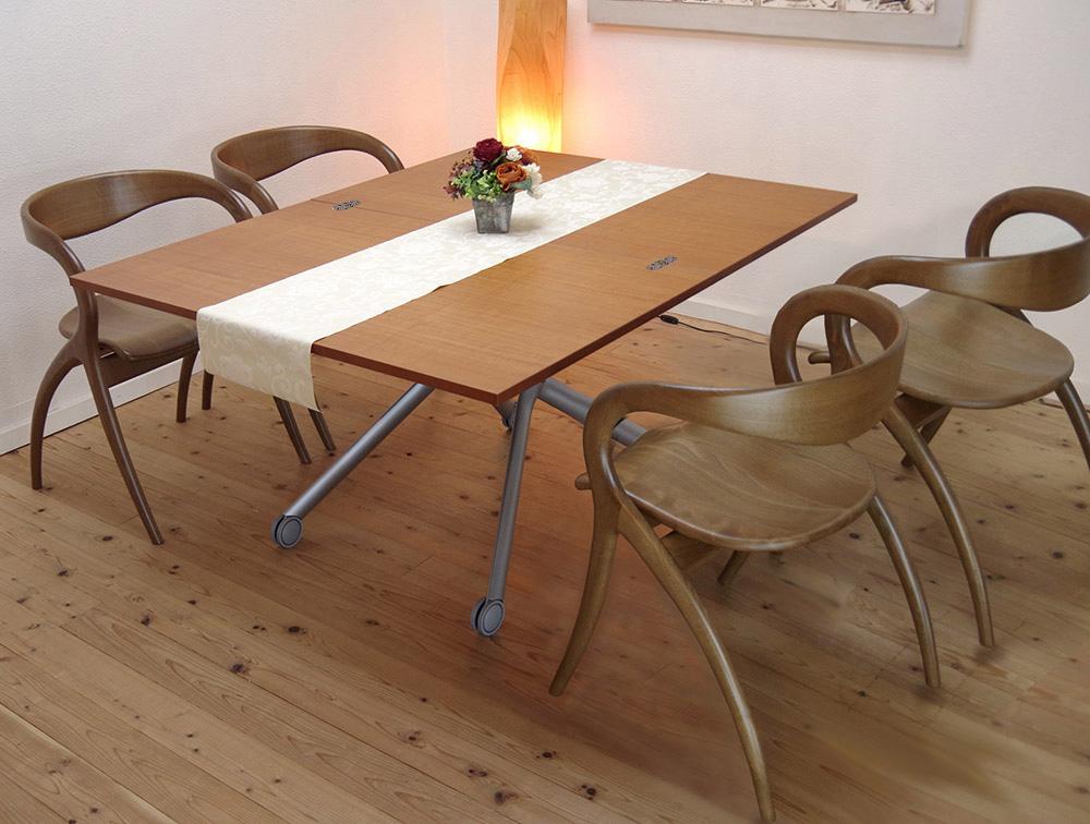 リフティングテーブル Esprit(エスプリ)チェリー/ デザイナーズチェアSTAR(スター、ウォールナット色)/4脚セット