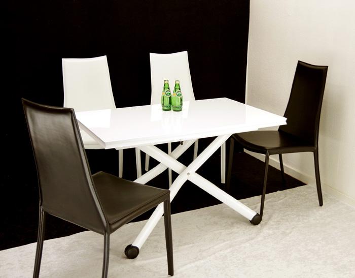 デザイナーズテーブルセット【伸長式リフティングテーブルEsprit-wh、チェアToby4脚セット】昇降伸長式テーブルイタリア製/ダイニングテーブル5点セット/高さ調整テーブルセット/テーブル高さ36~82cm
