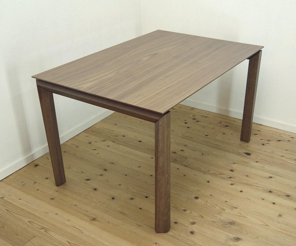 伸張式テーブル【木製ダイニングテーブル、幅130cm、180cm、230cm ウォールナット色】3段階幅変更テーブル、イタリア製