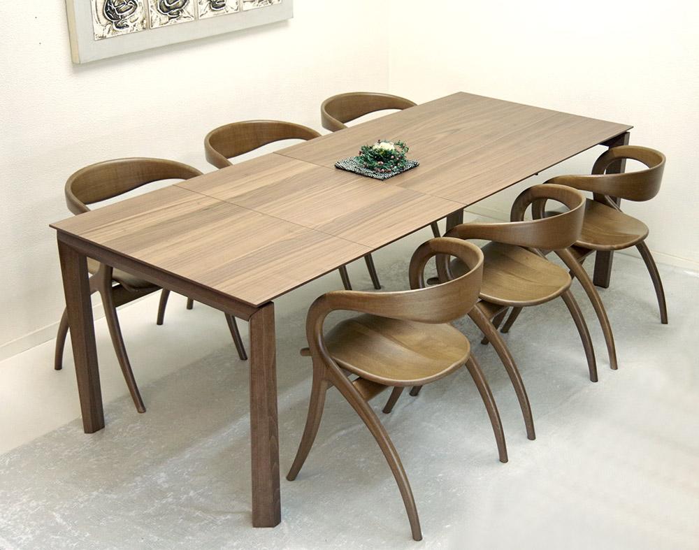 伸張式テーブル、チェア6脚セット【木製ダイニングテーブル、幅130cm、180cm、230cm ウォールナット色】3段階幅変更テーブル、イタリア製