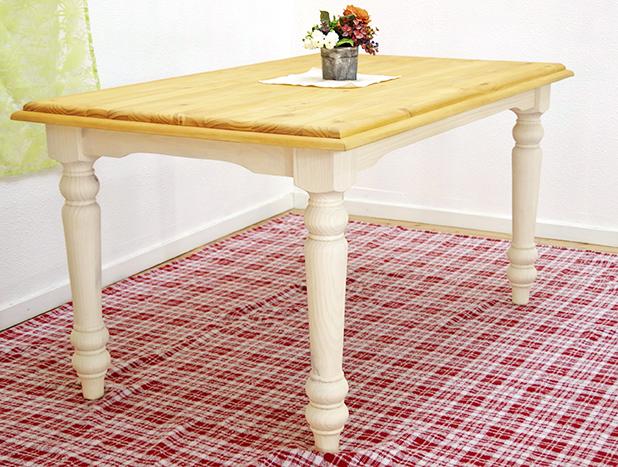 フレンチカントリー ダイニングテーブル 140cm幅 白いカントリーパインダイニングテーブル 無垢木製 オイル仕上げ 天然木の質感が分かるダイニングテーブル単品 天板や脚に丁寧な飾り彫りが施されている カントリーパイン食卓