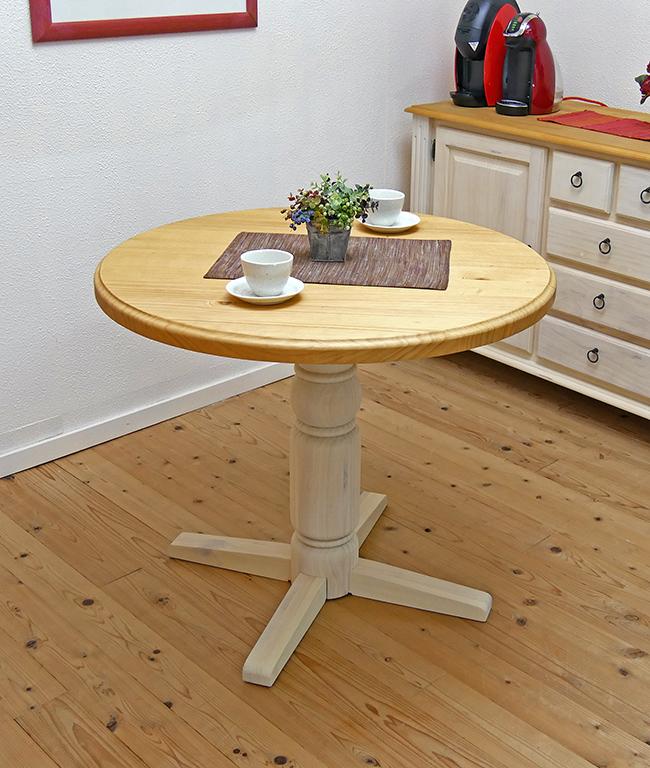 フレンチカントリー 90cm ラウンドテーブル 白いカントリー調 カフェテーブル パインラウンドテーブル カントリーパインラウンドテーブル 1本脚 丸テーブル 単品