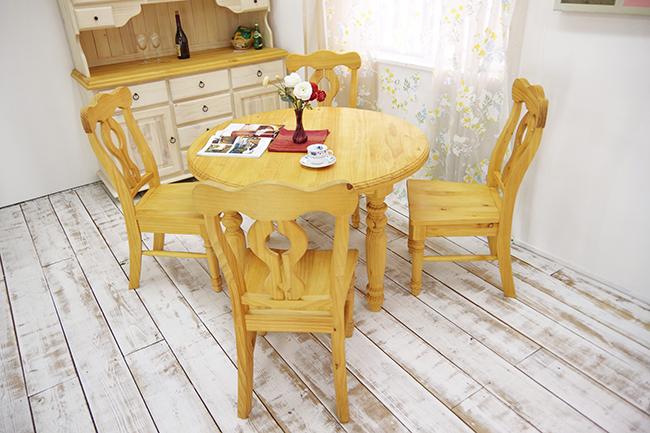 カントリー パイン材 110cm 丸いダイニングテーブル DT-Lacko/チェア4脚セット 無垢パイン材 木製テーブル オイル仕上げ ナチュラル 丸いダイニングセット カントリーパイン ラウンドテーブル5点セット