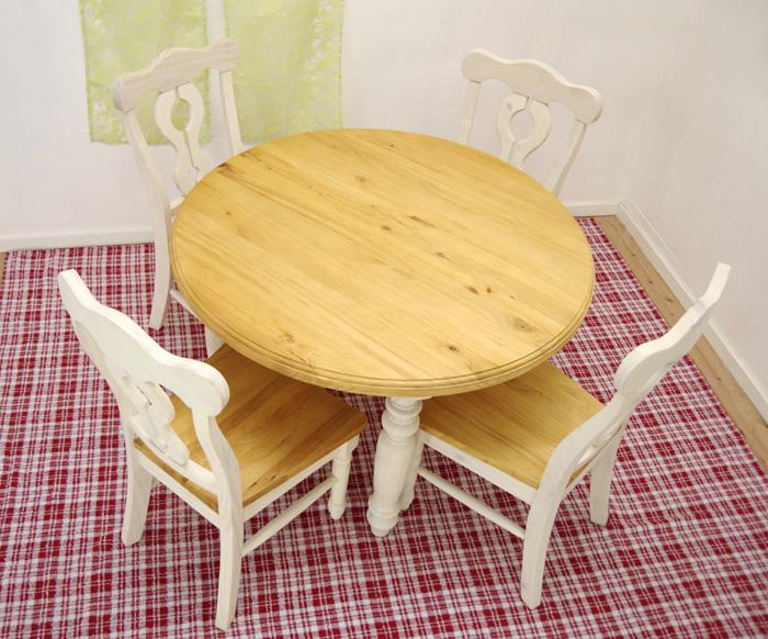 フレンチカントリー パイン 丸テーブル 白いダ イニング丸テーブル 直径110cm テーブル5点セット フレンチスタイル ミルキーチェア4脚セット 無垢木製 白いカントリー ラウンドテーブル チェアセット