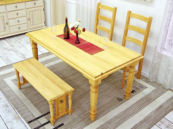 カントリー調 木製 ダイニングテーブル 4点セット 160cm幅 カントリーダイニングテーブルセット ナチュラル ナチュラルカントリー ダイニングテーブルセット ナチュラル カントリーチェア ベンチチェアセット