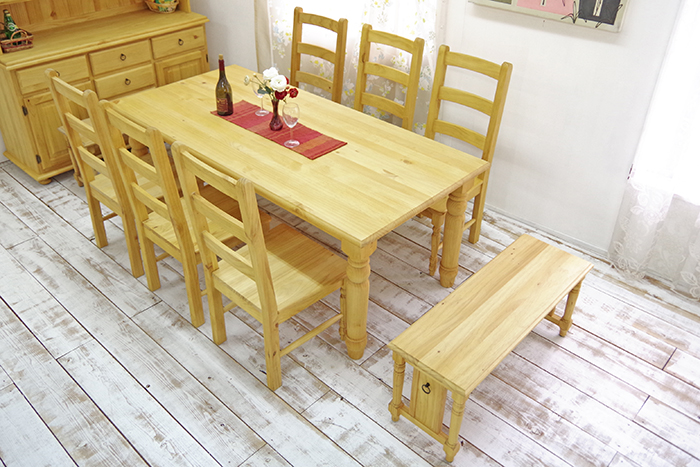 Dining Nine Points Set Pure Materials Country Pine Dining Pine Dining Table Set Natural Country Chair Bench Chair Set