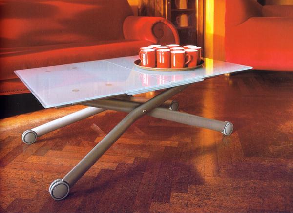 ガラス天板のテーブル 伸長式リフティングテーブル Esptir-v/ガラス天板 昇降伸長式テーブル イタリア製 ダイニングテーブル リビングテーブル 高さ調整テーブル テーブル高さ37~82cm