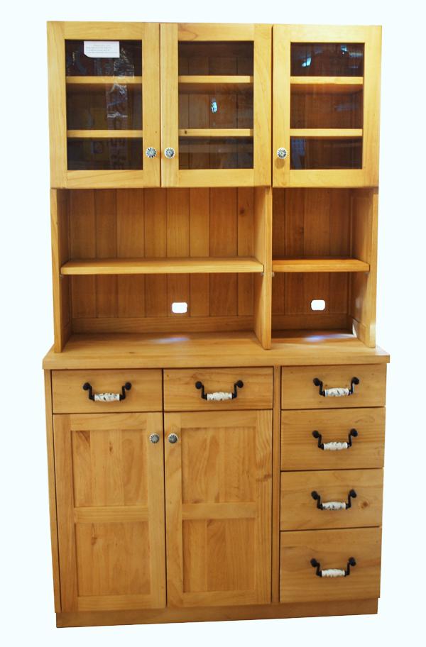 【カントリーオープンレンジボードlily/陶器取っ手】カントリー食器棚/パインレンジ台/カントリー収納棚