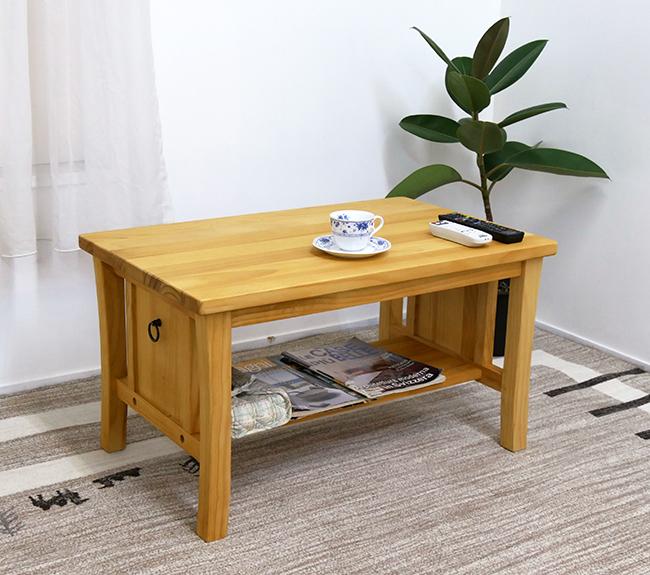 ナチュラルカントリー リビングテーブル シンプルデザインでコンパクトサイズのValencia テーブル 無垢木製のパイン材を使用 カントリーパインコーヒーテーブル/センターテーブル/ローテーブル